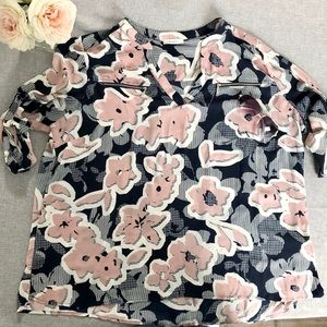 Blue and Pink Floral Blouse